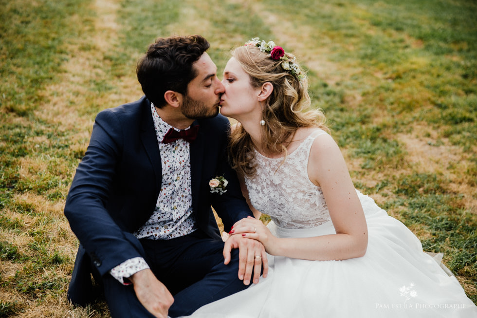 Couple de mariés au château de Launac