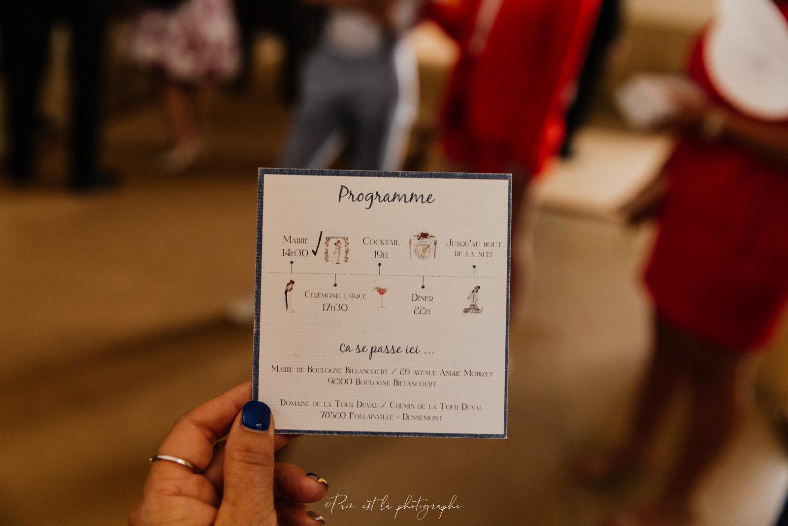 Photo du Programme du mariage